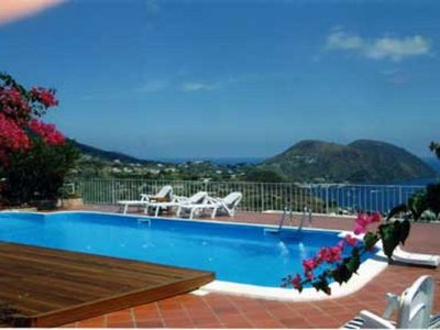 Photo for Beautiful apartment with pool and sea view in Lipari, Sicily