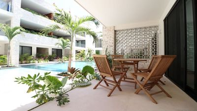 Photo for Lovely POOL VIEW Condo w Gym & Beach Club!