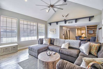 Nice open floor plan kitchen and dining table right off the living room area and Guest bedroom on main floor