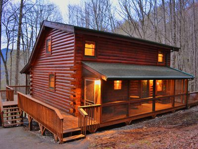 Photo for Log Cabin, MountainView, EZ Access, Playground, WIFI, AC, Fireplace, Firepit,