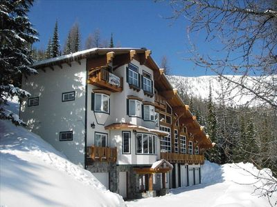 BB is 4 story Swiss Chalet with enclosed deck, looking at Schweitzer South Bowl