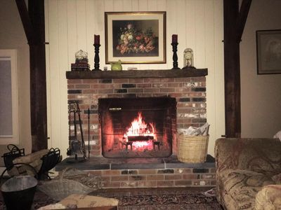 Wood burning fireplace in living room. We supply the wood.