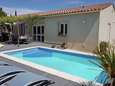 Photo for Beautiful, single storey villa with air conditioning, private pool and fenced garden