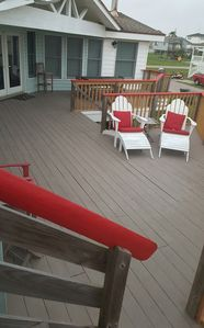 Newly refurbished and resurfaced deck....ready for sandy bare feet!!