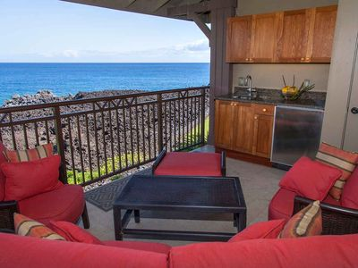 Photo for Exquisite ocean front, two bedroom two bathroom resort condo, golf nearby, walk to beach, Hali'i Kai 13A, In Waikoloa.