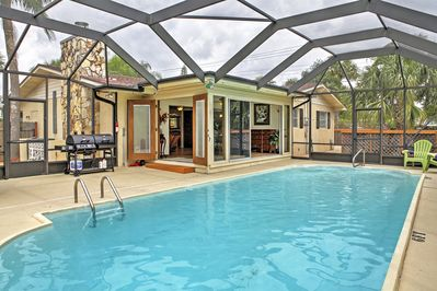 Soak up the balmy Florida sun by the private screened-in swimming pool