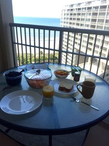 Breakfast with a view. Seating for your party of 8 to dine on the balcony!