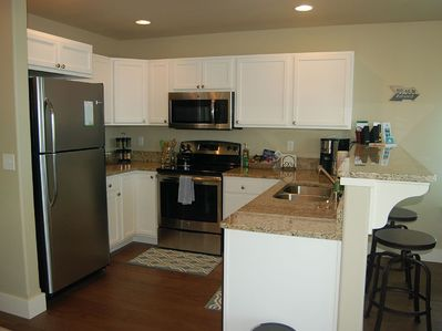 Fully stocked kitchen.  Granite countertops.  State of the art oven/dishwasher.