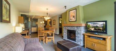 Photo for Bright Mountain Condo - Private Balcony, Communal Hot Tub & Fire Pit!
