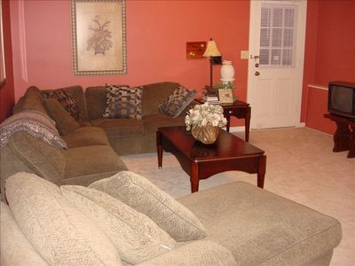 Basement with Stereo System, TV and study table. Queen sleeper sofa.