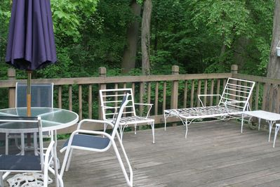 The deck at the back of the house.