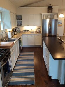 The kitchen features new appliances.
