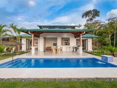 Photo for Newly built modern house with superb ocean and mountain view