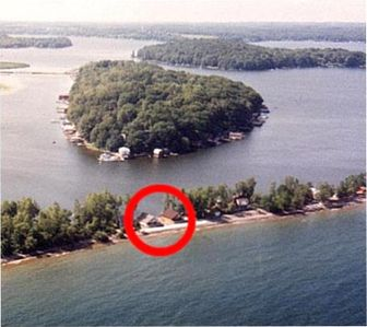 Areal view of the twin cottages. The Swan is on the left and the Loon right