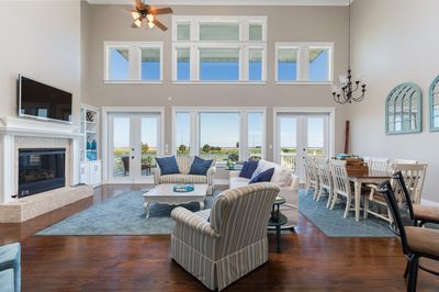 Huge Great Room on Main Floor overlooking 3 Lakes and the Beaches!