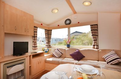 Photo for Modern, comfortable caravan at Perran Sands Holiday park, with dune views