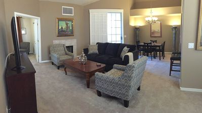 The living/dining area has plenty of seating.
