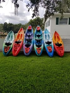 Four single and two tandem kayaks. Life vests and paddles included.