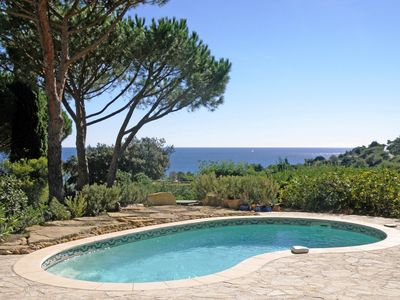 Photo for 200m from the beach, villa with private pool and beautiful sea view.