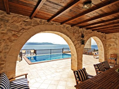 "Photo for ""Stone Castle Villa""  panoramic sea view, in sandy beach, near Athens"