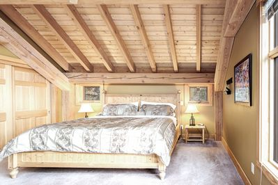 The gorgeous master bedroom with king bed