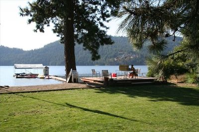back yard: level lawn to private beach and dock