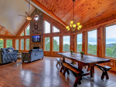 Photo for MOUNTAIN CHALET 10BR 7BA Sleeps30   Heated Pool (30ft), Hottub, Firepit, Privacy