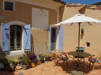 Photo for Beautiful typical house with terrace, vineyard, Lake Salagou, Languedoc, Mediterranean