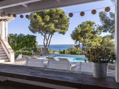 Photo for Beautiful Ibiza style villa with sea views and lots of privacy!