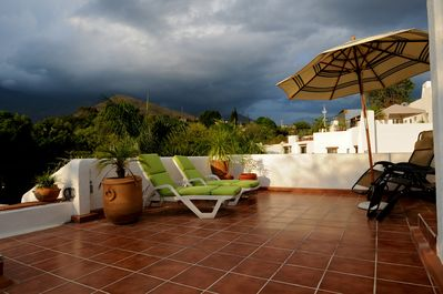View of the San Felipe mountains from our Rooftop Patio!