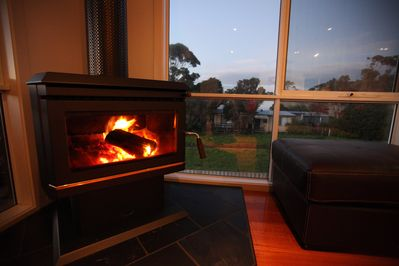 Wood heater in the lounge