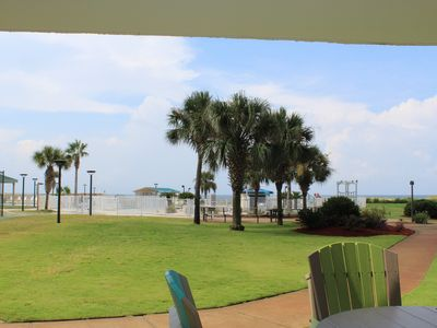 Photo for Direct Beachfront Updated Condo, Ground-floor Convenience to Beach, Pools, More!