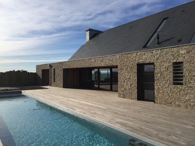 Photo for St-Malo / Cancale, new house with pisc. heated, Hammam & Jacuzzi, 100% sea view