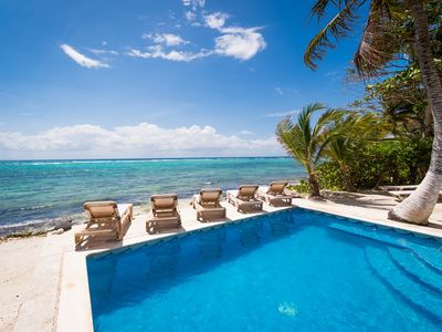 Photo for 5 to 8 BR Beachfront Home with Pool, AC, WiFi, Kayaks - South Akumal
