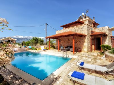 Photo for Eleonas stone villa with private pool,bbq and stunning mountain views