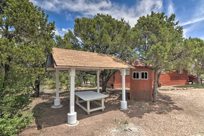 Take advantage of the property's picnic table, fire pit, and horseshoes!