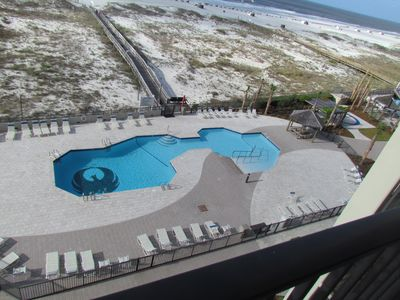 The pool has new pavers and handicap accessible in 2016!  Walk in end!