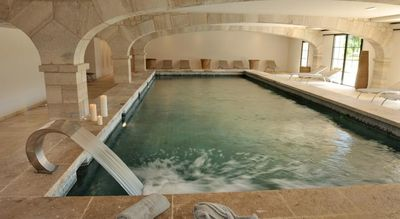 The on-site spa and indoor pool