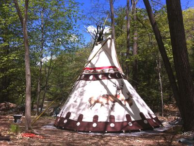 Photo for Sioux Tipi Overlooking a Waterfall.   One half mile to village of Woodstock.