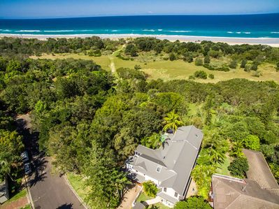 Baby and Beachcomber Blue - Byron Bay - Aerial View d