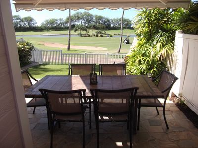 Patio Dining with Retractable Awning