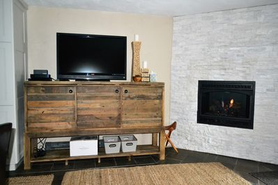 TV console and fireplace