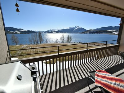 Photo for Lakefront- WOW Views. Deck, Pool, Garage, Elevator. Walk to Marina, Dining