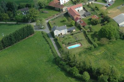 Aerial View, Front and back garden