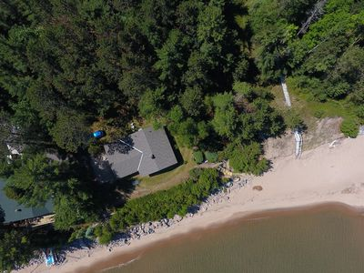 Aerial View of Cottage, Stairs, Beach and Lake Superior