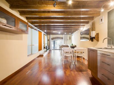 Photo for Rustic and warm apartment for families - near Plaça Catalunya