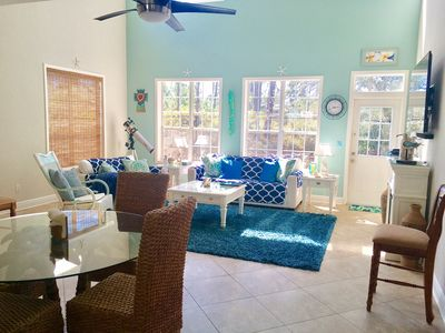 Blue Seahorse features beautiful coastal decor, high ceilings & lots of windows