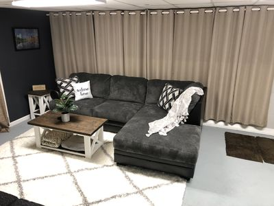 Newly renovated guest lounge area! Enjoy movie night in comfort!