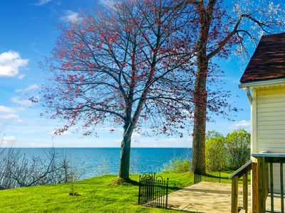 Beautiful waterfront full house, up on a cliff, Lake Ontario USA