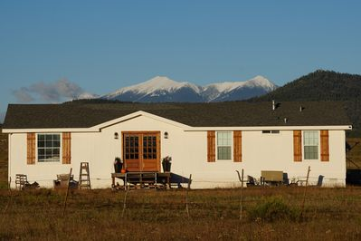 The back drop of our home is beautiful snow covered San Francisco Peak!